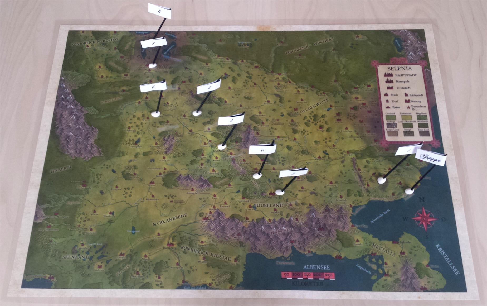 Fähnchen auf der Karte